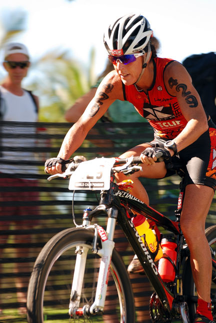 Barbara toughs it out on the bike at the Xterra Worlds.