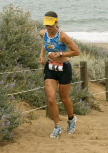 Rachel Sears Casanta on Escape from Alcatraz triathlon sand ladder